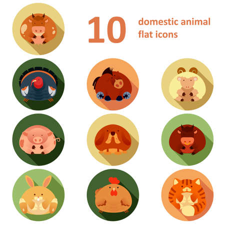 crop circles: Vector collection of icons of farm animals