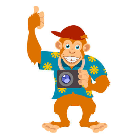 Vector image of a Monkey with a cam