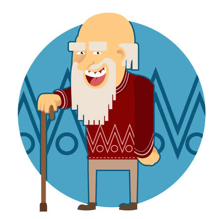 Vector image of a cartoon old man