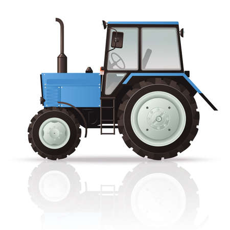 Vector image of a cool blue Tractor Çizim