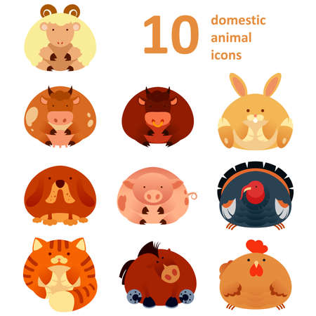 horse cock: Vector collection of icons of farm animals