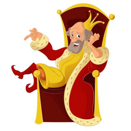 corona rey: Vector de imagen de un Rey de divertidos dibujos animados Vectores