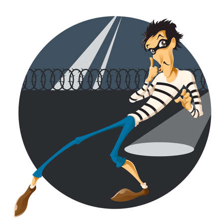 character traits: Vector image of an Escape of thief Illustration