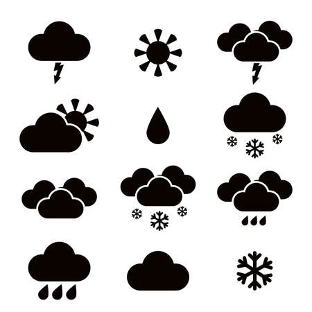 Vector image of some weather black icons Illustration
