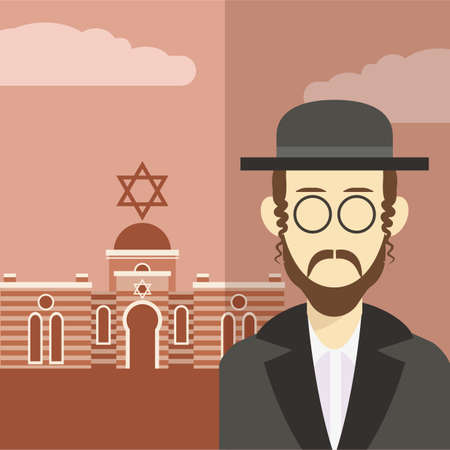 hasidic: Vector cartoon of a  icon with an jew