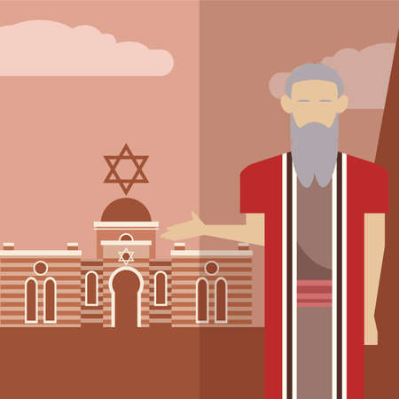 ten commandments: Vector image of an icon of Moses Illustration