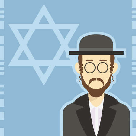 the rabbi: Vector cartoon of a  icon with an jew