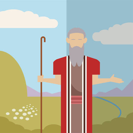 bible story: Vector image of an icon of Moses Illustration