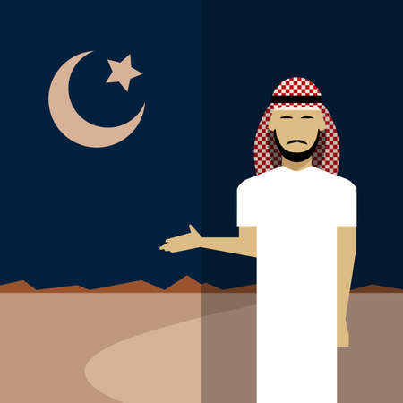 arab men: Vector image of an icon with Islam simbols