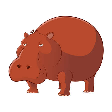 Vector image of a brown cartoon Hippopotamus Illustration