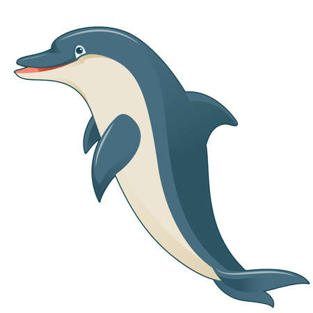 Vector image of  a cartoon gray dolphin Illustration