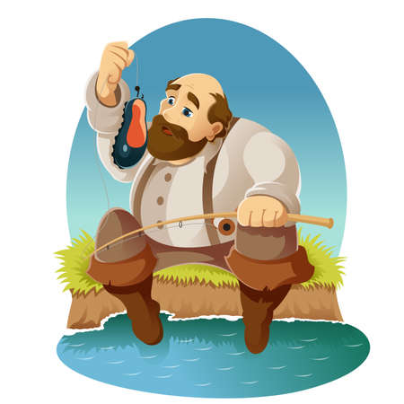 fisher man: Vector image of a Cartoon fisher with boot