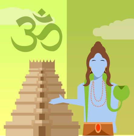 popular belief: Vector image of a Hindu flat icon Illustration
