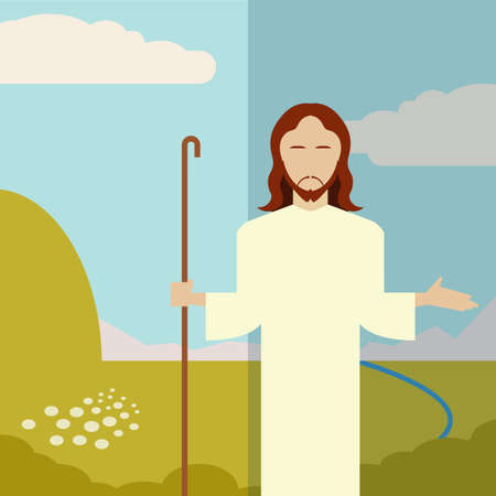 jesus christ: Vector image of a Flat icon Jesus