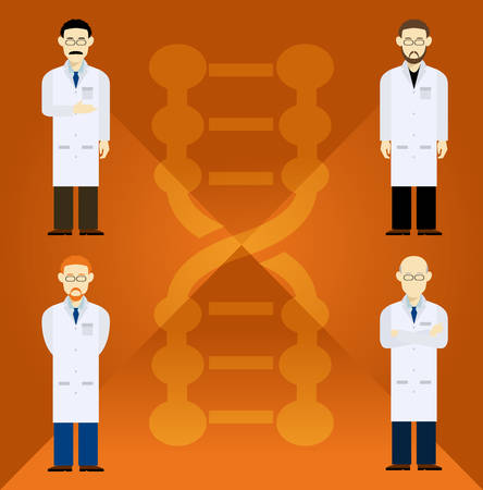 Vector image of  set with four scientists Vector