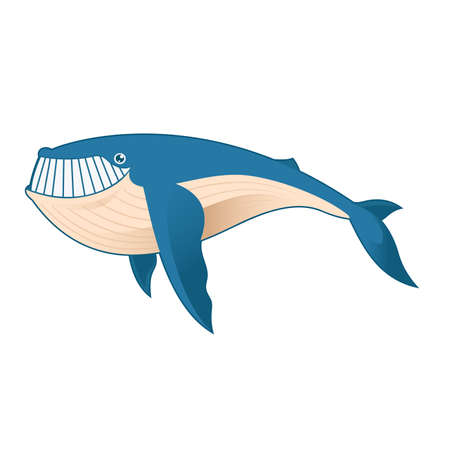 Vector image of a cartoon blue Whale Vector