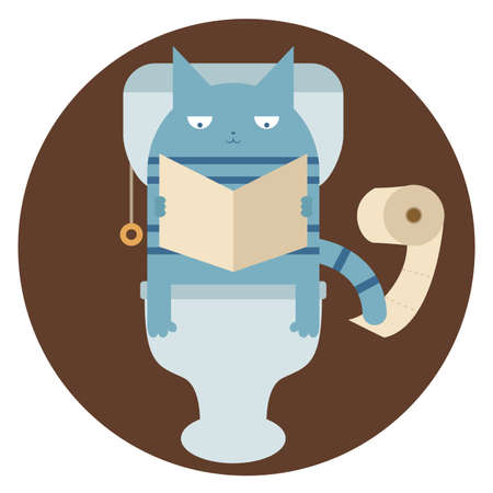 Vector image of a Cat in the toilet