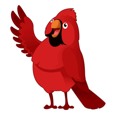 Vector image of a red cartoon cardinal Illustration