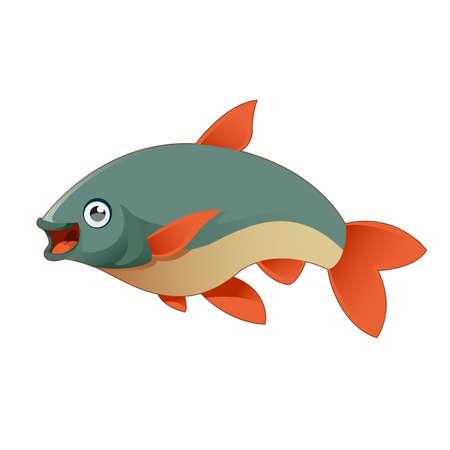 white salmon river: Vector image of a happy cartoon fish
