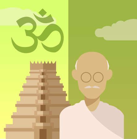 hindu temple: Vector image of a concept of religion of Hindu Illustration