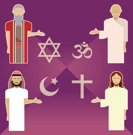 Vector image of set of religion icons