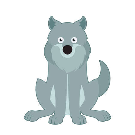 shaggy dog: Vector image of a cartoon gray sitting wolf