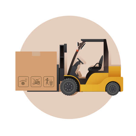 yelllow: Vector image of an yelllow auto loader and a box