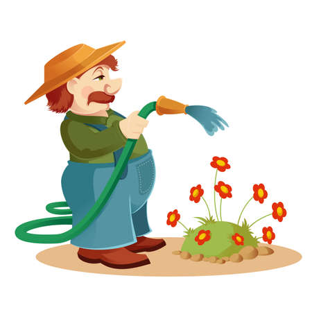 gardening hoses: Vector image of a cartoon Gardener man