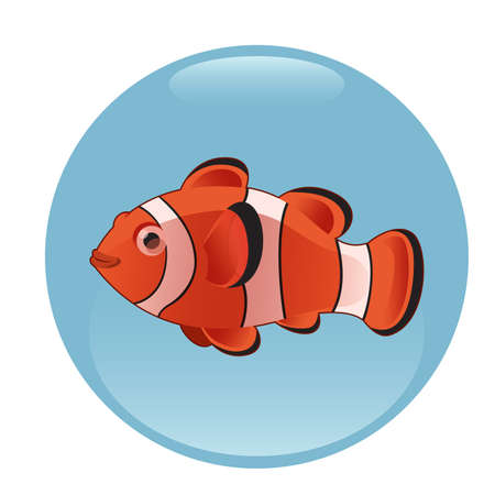 nemo: Vector image of a red clownfish in an aquarium