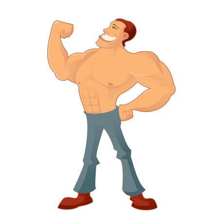 body man: Vector de imagen de una caricatura sonriente Muscleman
