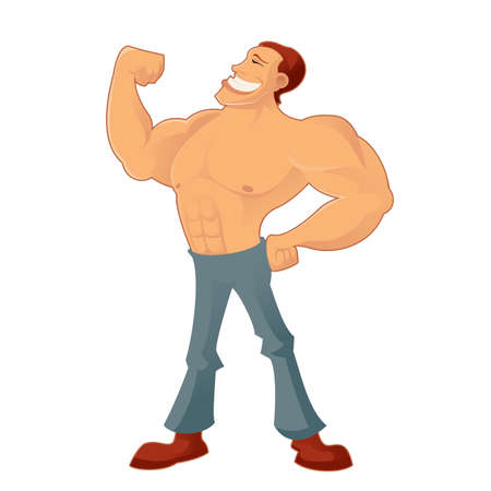 men body: Vector image of a cartoon smiling Muscleman