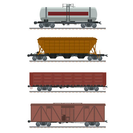 Vector image of a collection of icons of waggons