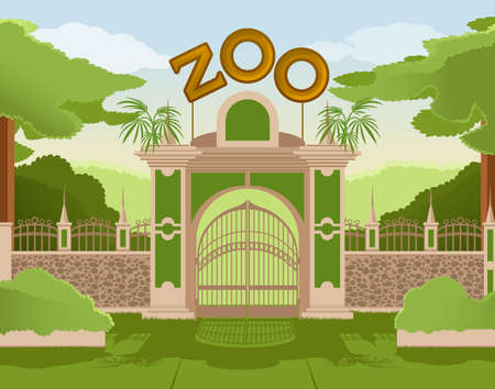 entrance:  image of a colurful zoo gate Illustration