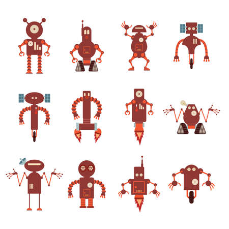character traits:  image of collection of red robot icons Illustration
