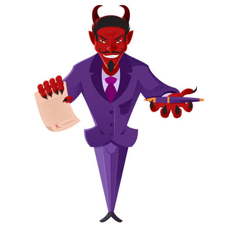 sneering: image of a devil with a deal