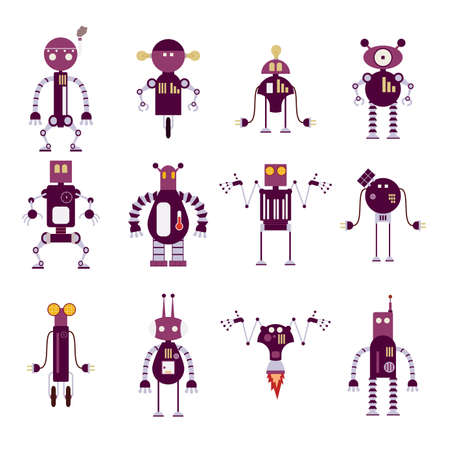 funny robot:  image of collection of purple robot icons Illustration