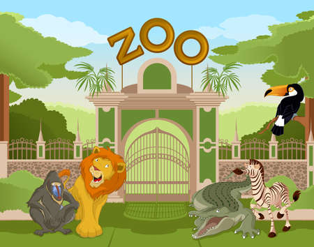 colurful: image of a colurful zoo gate with african animals Illustration