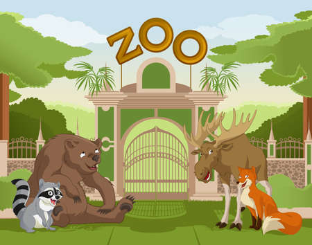 entrance gate:  image of a colurful zoo gate with animals