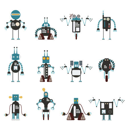 character traits:  image of collection of cyan robot icons Illustration