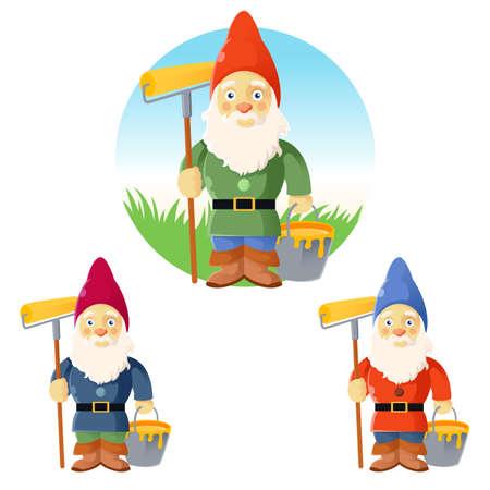 kabouters: beeld van de collectie van tuinkabouters Stock Illustratie