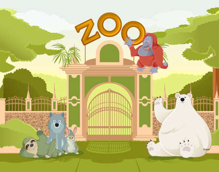 zoo:  image of a colurful zoo gate with animals