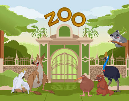 colurful:  image of a colurful zoo gate with australian animals