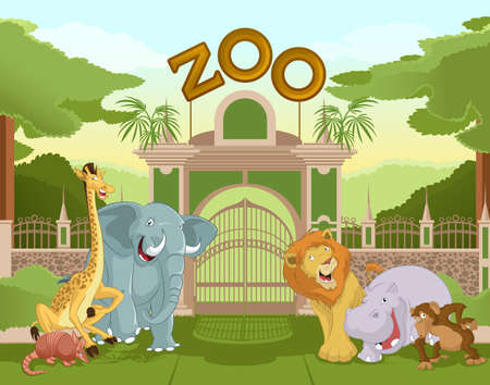 entrance gate:  image of a colurful zoo gate with african animals Illustration