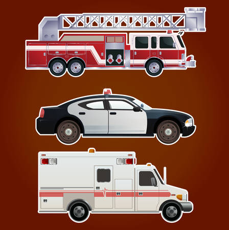 responders:  image of collection of  icons of emergency cars Illustration