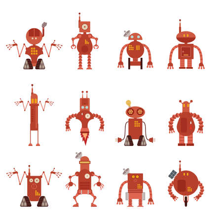 character traits: Vector image of collection of robot icons Illustration