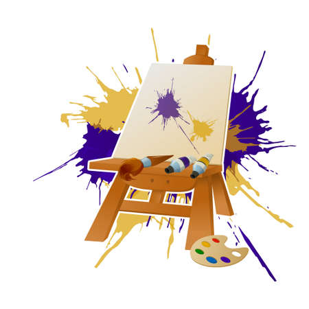 creative arts: Vector image of an Easer and paint Illustration