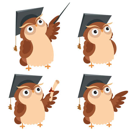 Vector image of a cartoon icons of Owl Ilustracja