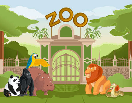 entrance: Illustrations of zoo gate with animals