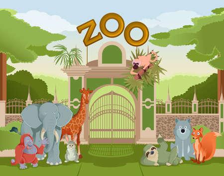 zoo: Imagen del vector de la puerta zoológico con animales Vectores