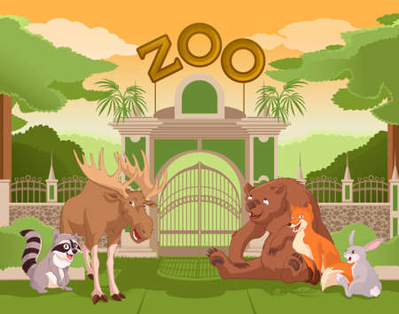 colurful: Vector image of a colurful zoo gate with animals Illustration